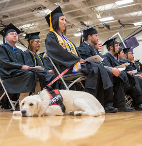 Michie Ota, from Hamamatsu Japan and her service dog, Peace, attend the 2018 McHenry County College Winter Commencement ceremony Saturday, December 15, 2018 in Crystal Lake. Ota received her Associates degree in General Education.  KKoontz – For Shaw Media