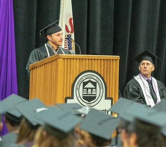 Student Keynote Speaker Peter Atterberg addresses the audience Saturday, December 15, 2018 at the 2018 McHenry County College Winter Commencement ceremony. Atterberg received his Associates Degree in Criminal Justice.  KKoontz – For Shaw Media