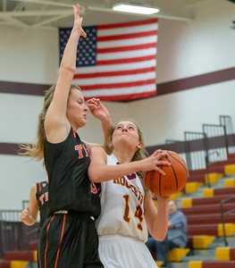 Richmond Burton's Kayly Hogan goes up for the shot against Crystal Lake Central's Nora Ryan during the Northern Illinois Girls Holiday Classic Basketball Tournament held Tuesday, December 17, 2018 at Richmond –Burton High School in Richmond. Richmond fell to Central, 51-41. KKoontz – For Shaw Media