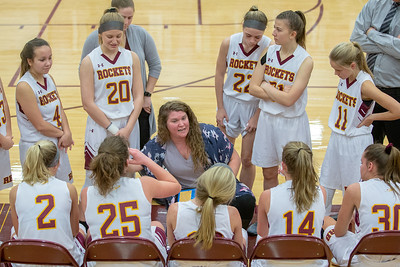 Richmond-Burton head coach Stephanie Oslovich talks with her team during the Northern Illinois Girls Holiday Classic Basketball Tournament held Tuesday, December 17, 2018 at Richmond –Burton High School in Richmond. The Rockets came up short against Crystal Lake Central, 51-41. KKoontz – For Shaw Media