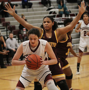 Candace H. Johnson-For Shaw Media Antioch's Avery Larson pulls down a rebound against Zion-Benton's Jaea Johnson in the first quarter at Antioch Community High School. Zion-Benton won 56-47. (12/17/18)