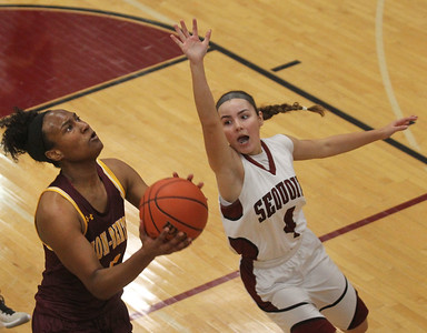 Candace H. Johnson-For Shaw Media Zion-Benton's Morgan Callahan looks up for a shot against Antioch's Piper Foote in the third quarter at Antioch Community High School. Zion-Benton won 56-47. (12/17/18)