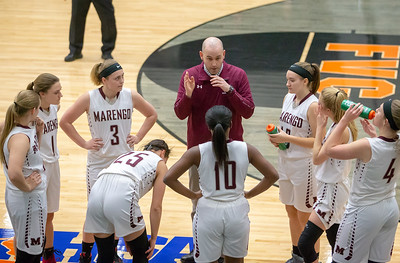 Marengo's head basketball coach, Nick Rode talks to his team during a timeout against Crystal Lake Central Friday, December 21, 2018 at the Northern Illinois Girls Holiday Classic basketball tournament in McHenry. Marengo gets the win, 53-36. KKoontz – For Shaw Media