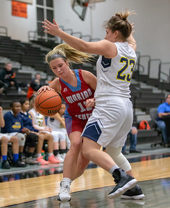 Marian Central Catholic's Regan Dineen is fouled while driving the baseline by Round Lake's Samantha Nicoline Friday, December 21, 2018 at the Northern Illinois Girls Holiday Classic basketball tournament in McHenry. Marian pulled away in the fourth quarter to take the win 46-36 and will play Marengo tomorrow in the championship game.  KKoontz – For Shaw Media
