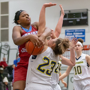 Marian Central Catholic's Janelle Allen is fouled by against Round Lake's Samantha Nicoline Friday, December 21, 2018 at the Northern Illinois Girls Holiday Classic basketball tournament in McHenry. Marian pulled away in the fourth quarter to take the win 46-36 with Allen leading the team in scoring with 13 points. Marian will play Marengo tomorrow in the championship game.  KKoontz – For Shaw Media