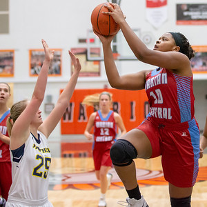 Marian Central Catholic's Janelle Allen drives to the basket against Round Lake Friday, December 21, 2018 at the Northern Illinois Girls Holiday Classic basketball tournament in McHenry. Marian pulled away in the fourth quarter to take the win 46-36 with Allen leading the team in scoring with 13 points. Marian will play Marengo tomorrow in the championship game.  KKoontz – For Shaw Media