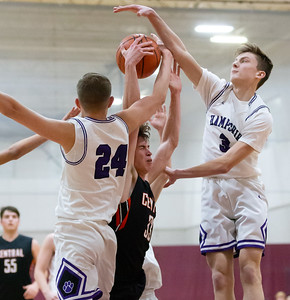 Crystal Lake Central's Christian Lerum gets fouled driving towards the basket Saturday, December 29, 2018 during the E.C. Nichols championship game in Marengo. Crystal Lake Central takes the championship knocking off Hampshire 75-58. KKoontz – For Shaw Media.
