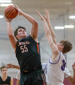Crystal Lake Central's Alex Timmerman goes over Hampshire's Nicholas Erickson Saturday, December 29, 2018 during the E.C. Nichols championship game in Marengo. Crystal Lake Central takes the championship 75-58. KKoontz – For Shaw Media.