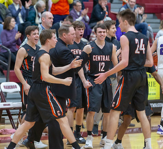 CCrystal Lake Central head coach Rich Czeslawski celebrates with the bench after a three-point shot and a called timeout Saturday, December 29, 2018 during the E.C. Nichols championship game in Marengo. Crystal Lake Central takes the championship knocking off Hampshire 75-58. KKoontz – For Shaw Media.