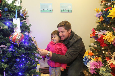 Candace H. Johnson-For Shaw Media Genevieve Leicht, 3, of Grayslake and her father, Daniel, look at the Exchange Club of Grayslake's holiday tree in the Giving Trees exhibit at the Grayslake Heritage Center & Museum during the Grayslake Tree Lighting Festivities in downtown Grayslake. (11/29/19)