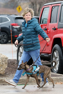 Candace H. Johnson-For Shaw Media Lisa Crowley, of Grayslake, executive director and puppy raiser, with Canines 4 Comfort walks Ella, a one-and a half-year-old, rescue-mix through the parking lot to Bass Pro Shops in Gurnee Mills to introduce new environments to the dog for desensitization.(12/9/19)