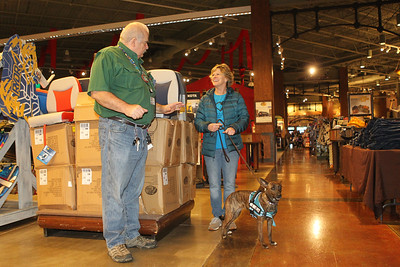 Candace H. Johnson-For Shaw Media Lisa Crowley, executive director and puppy raiser, with Canines 4 Comfort stops to talk with Joe Daniels, of Grayslake, team member, as she walks Ella, a one-and-a-half-year-old, rescue-mix through Bass Pro Shops in Gurnee Mills to introduce new environments to the dog for desensitization.(12/9/19)