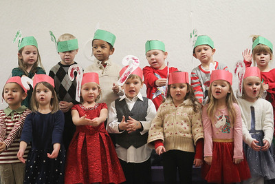 """Candace H. Johnson-For Shaw Media Students from the Eagle Junction Preschool sing the Christmas song, """"Santa Claus is Coming to Town,"""" during the Holiday Tree Lighting at the Lippert Community Center in Lindenhurst. (12/7/19)"""