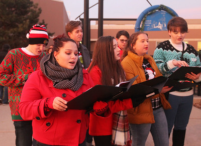 Candace H. Johnson-For Shaw Media Alexia Tsengouras, 17, of Lindenhurst sings Christmas carols with the Lakes Community High School Chamber Choir before the Holiday Tree Lighting at the Lippert Community Center in Lindenhurst. (12/7/19)