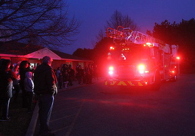 Candace H. Johnson-For Shaw Media Santa arrives in a Lake Villa fire truck outside of the Lippert Community Center during the Holiday Tree Lighting in Lindenhurst. (12/7/19)