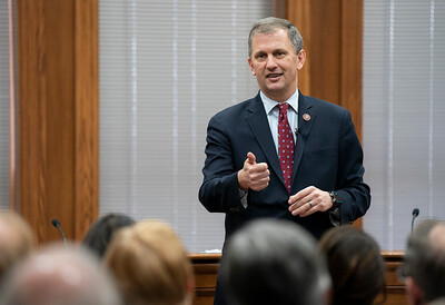 U.S. Rep. Sean Casten, D-IL, climate change talk at Barrington Village Hall.