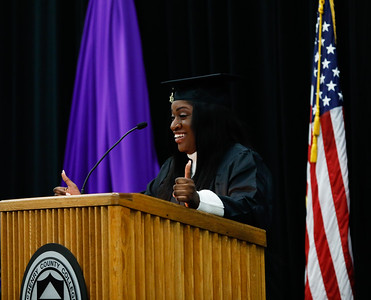 Hannah Agboola gives the student presentation during McHenry County College winter commencement on Saturday in Crystal Lake. Photo by Bev Horne