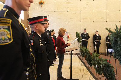 Candace H. Johnson-For Shaw Media Kristina Kovarik, mayor of Gurnee, talks about honoring the veterans of those we lost and those who have served during the Wreaths Across America ceremony at the Warren Funeral Home Mausoleum in Gurnee.  (12/14/19)
