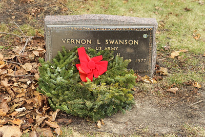Candace H. Johnson-For Shaw Media A wreath was put on Vernon L. Swanson's grave during Wreaths Across America at the Warren Funeral Home Cemetary in Gurnee.  Swanson served in the Army during World War II and was born on April 13, 1926 and died on July 15, 1977. (12/14/19)