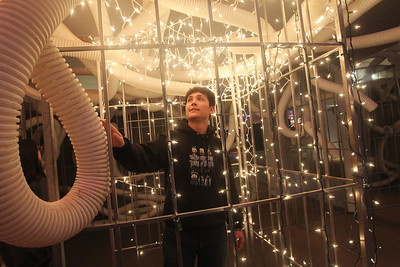 Candace H. Johnson-For Shaw Media Gabriel Tresenriter, 17, of Hainesville checks out the Cage Maze at the X-Mas Haunting, an interactive Christmas experience, in The Gallery at Hawthorn Mall in Vernon Hills. The Gallery is the former Carson Pirie Scott Furniture Gallery at 480 Ring Drive in Vernon Hills. The pop-up gallery is open until January 4th, 2020. (12/21/19)