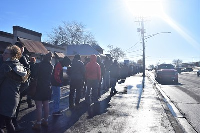 Many people made their way to the back of the line that stretched around the Verilife Marijuana Dispensary and down S. Lincolnway street in North Aurora on Jan. 1st.