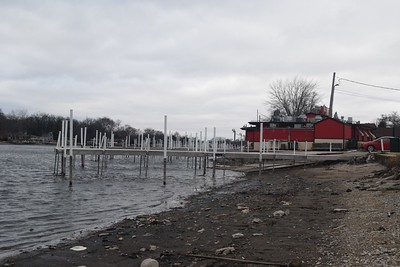 The Fox River, seen Monday, near the Snuggery Riverside Bar and Grill, 801 N. River Road in McHenry, is not expected to rise to levels that would threaten a flood after rains soaked the area Sunday night into Monday morning.