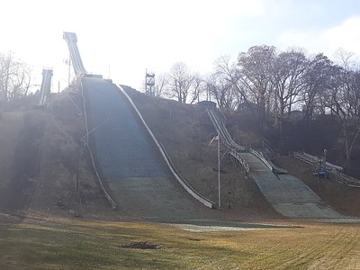 The Norge Ski Club in Fox River Grove is seen Friday. Although the winter tournament, set for late January, can go on without snow by putting water on the plastic landing instead, the ski club's publicity chairman said they would rather it have snow.