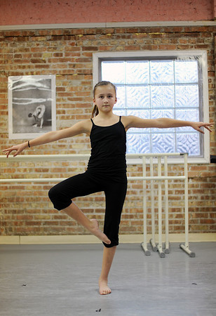 Sarah Nader - snader@shawmedia.com Hailey Pesch, 11, of North Barrington takes a beginning modern dance class at the Cary Grove Performing Arts Center in Cary on Wednesday, February 1, 2012. Pesch has been taking dance classes for the past eight years.