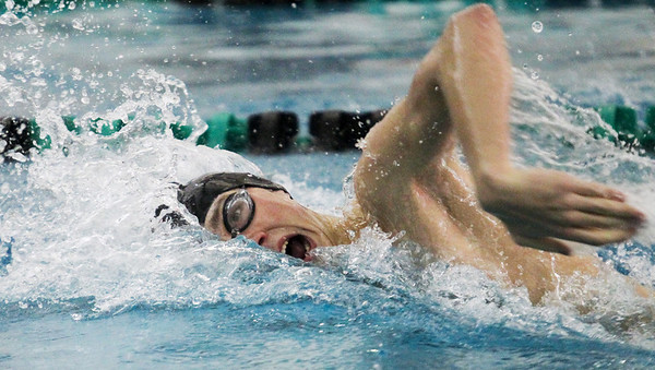 Lauren M. Anderson - landerson@shawmedia.com Woodstock North's Adam Steinken competes in the 200-yd Freestyle Relay on Thursday in a triangular meet between Huntley, Jacobs/Dundee-Crown and Woodstock North.
