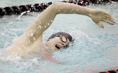 Lauren M. Anderson - landerson@shawmedia.com Jacobs' John Jost competes in the 500-yd freestyle race on Thursday during a triangular meet between Huntley, Jacobs/Dundee-Crown and Woodstock North.