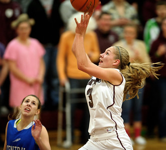 Daniel J. Murphy - dmurphy@shawmedia.com  Marengo forward Jessica Villie (center) scores a basket in the third period Friday February 3, 2012 at Marengo high school in Marengo. Marengo defeated Burlington Central 53-33 to clinch a share of BNC East title.