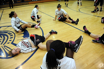 Daniel J. Murphy - dmurphy@shawmedia.com  Huntley players stretch out before their game against Cary-Grove Saturday February 4, 2012 at Cary-Grove high school in Cary. Cary-Grove defeated Huntley 41-39.