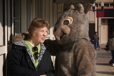 Yadira Shanchez Olson for The Northwest Herald Sandy Cincotti of Willow Springs makes faces at Woodstock Willie during the Groundhog Day festivities Saturday February 4, 2012 in the Woodstock Square in Woodstock.