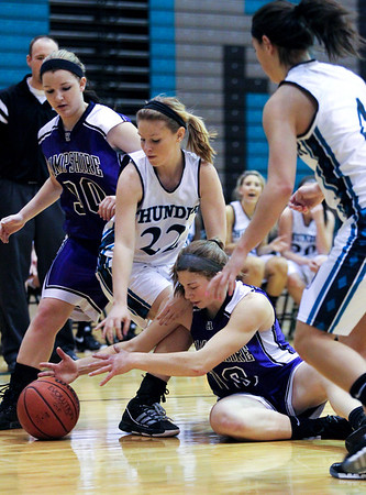 Jenny Kane - jkane@shawmedia.com Woodstock North and Hampshire scramble for the ball during the second period of their game at Woodstock North. Woodstock North defeated Hampshire 54-45.