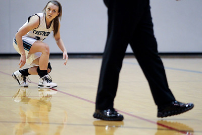 Jenny Kane - jkane@shawmedia.com Woodstock North's Haylee Nutter stands up after tying her shoe during their game against Hampshire.