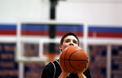 Sarah Nader - snader@shawmedia.com Prairie Ridge's Michael Bradshaw makes a free throw during the second quarter of Wednesday's FVC Valley matchup in Carpentersville on February 8, 2012. Dundee-Crown won, 44-29.