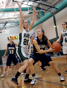 Sarah Nader - snader@shawmedia.com Grayslake Central's Beth Arnold (left) guards Cary-Grove's Megan Leisten during the first quarter of Thursday's crossover game between the FVC Valley champion and the FVC Fox champion on February 9, 2012 in Grayslake. Cary-Grove won, 58-54.