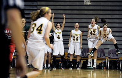 Sarah Nader - snader@shawmedia.com The Crystal Lake South basketball team celebrates a point in the fourth quarter of Monday's Prairie Ridge Regional play-on game against Grant on February 13, 2012. Crystal Lake South won, 43-42.