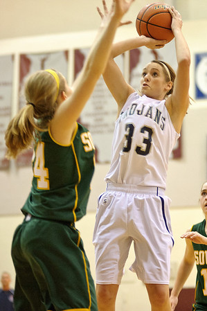 Daniel J. Murphy - dmurphy@shawmedia.com  Cary-Grove's Paige Lincicum (right) puts up a basket in the second quarter against Crystal Lake South Wednesday February 15, 2012 at Prairie Ridge High School in Crystal Lake. Cary-Grove defeated Crystal Lake South 28-27.