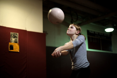 Daniel J. Murphy - dmurphy@shawmedia.com  Elsa Larry, 10, of Cary plays volleyball with here friends during the Cary-Grove-Crystal Lake South girls basketball game Wednesday February 15, 2012 at Prairie Ridge High School in Crystal Lake. Cary-Grove defeated Crystal Lake South 28-27.