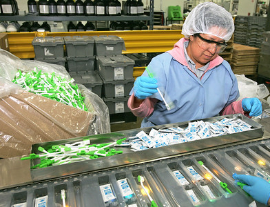 H. Rick Bamman - hbamman@shawmedia.com Sage Products temporary worker Yolanda Garcia of Algonquin works on the production line assembling QCare kits of oral swabs.