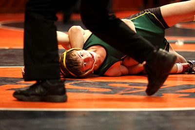 lbooth@shawmedia.com - Lance Booth Coal City's Casey Brown wrestles against Dakota's Josh Alber at the ISHA 1A Individual State Wrestling Tournament during the semi-final round at University of Illinois in Urbana-Champaign on Friday, February 17, 2012. Brown lost the 120 weight class with a major decision of 4-14.