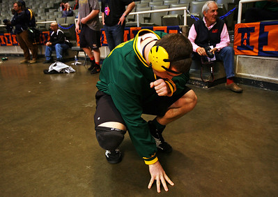 Lance Booth-lbooth@shawmedia.com Crystal Lake South's Mike Romanelli gets ready before a match at the ISHA 3A Individual State Wrestling Tournament during the first round consolations at University of Illinois in Urbana-Champaign on Friday, February 17, 2012.