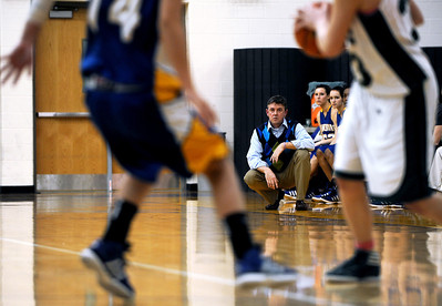 Sarah Nader - snader@shawmedia.com Johnsburg's head coach Brad Frey watches the team during Friday's Wauconda Regional final against Grayslake Central on February 17, 2012. Grayslake Central won, 48-18.