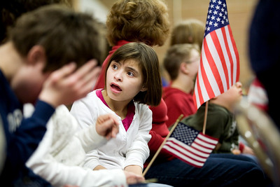 Jenny Kane - jkane@shawmedia.com Wed. Feb. 22, 2012, Ashley Hannon waits for an assembly at the Special Education District of McHenry County Education Center in Woodstock to begin. The assembly was for Take a Veteran to School Day.