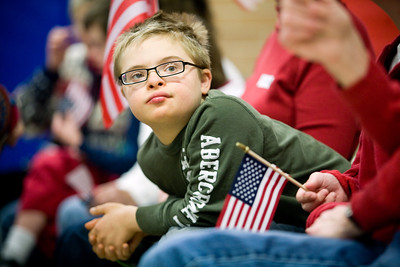 Jenny Kane - jkane@shawmedia.com Wed. Feb. 22, 2012, Nicholas Boguchi waits for an assembly at the Special Education District of McHenry County Education Center in Woodstock to begin. The assembly was for Take a Veteran to School Day.