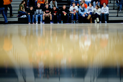 Daniel J. Murphy - dmurphy@shawmedia.com  The DeKalb student section sits courtside at halftime Thursday February 23, 2012 at McHenry West High School. DeKalb defeated Cary-Grove 31-29 for the IHSA class 4A sectional title.