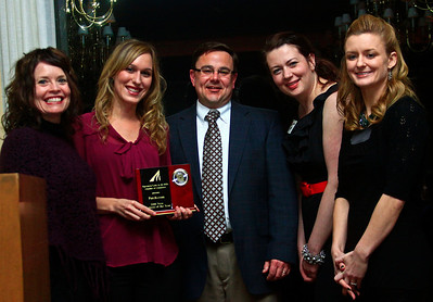 Brett Moist - For Shaw Media (from left to right) Teresa Sakes and Russ Farnum pose with Savannah Zirgelbauer, Vanessa Baker, and Anie Schaenzer of patch.com who won the 2011 New Business of the Year Award during the annual awards dinner at the Boulder Ridge Country Club in Lake in the Hills on Friday, February 17th. This award ceremony marked 60 years in the community.