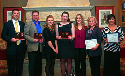 Brett Moist - For Shaw Media Winner's and nominees for various awards pose during the annual awards dinner at the Boulder Ridge Country Club in Lake in the Hills on Friday, February 17th. (from left to right) Jarid Brockman, Dave Rudin, Anie Schaenzer, Vanessa Baker, Savannah Ziegelbauer, Marianne Evans, and Lou Ho.
