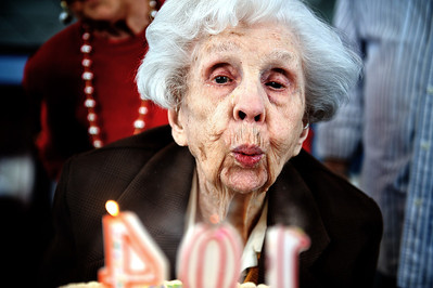 Daniel J. Murphy - dmurphy@shawmedia.com  Erna Ericson(cq) blows out the candles on her birthday cake at The Fountains at Crystal Lake Sunday February 26, 2012 in Crystal Lake. Family and friends came from all over the area to celebrate Ericson's 104th birthday.